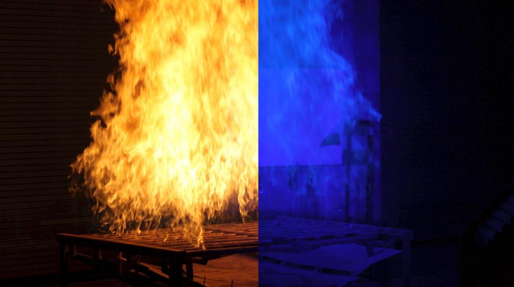 火災現場で炎の向こう側が可視化できるシステム